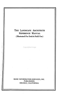 The Landscape Architects Reference Manual PDF