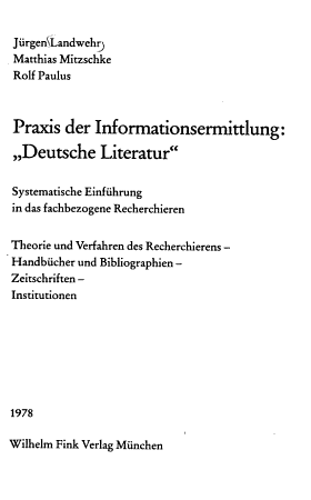 Praxis der Informationsermittlung   Deutsche Literatur  PDF