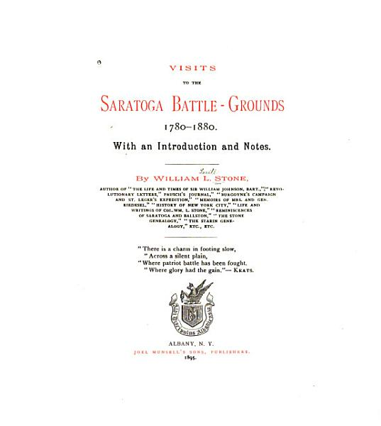 Download Visits to the Saratoga Battle grounds  1780 1880 Book
