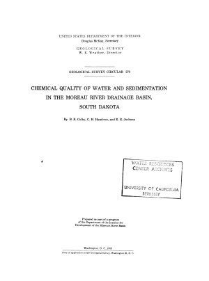 Chemical Quality of Water and Sedimentation in the Moreau River Drainage Basin  South Dakota PDF