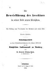 Die beweisführung des Aeschines in seiner Rede gegen Ktesipho: ein Beitrag zum verständnis des redners und seiner Zeit