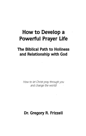 How to Develop a Powerful Prayer Life PDF