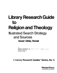 Library Research Guide to Religion and Theology PDF