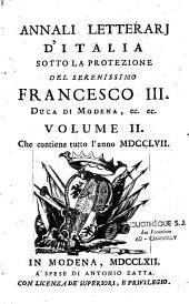 Annali letterarj d'italia. Francescio-Antonio Zaccaria