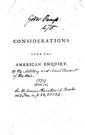 Considerations Upon the American Enquiry: Volume 6