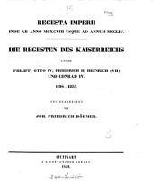 Regesta Imperii ... Die Regesten des Kaiserreichs ... 1198-1254. Neu bearb