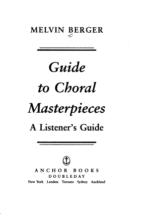 Guide to Choral Masterpieces