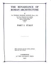 The Renaissance of Roman Architecture: Volume 1
