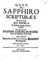 De sapphiro Scripturae S., occassione Jobi XXVIII, 6