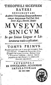 Museum sinicum, in quo sinicae linguae et litteraturae ratio explicatur: Volume 1