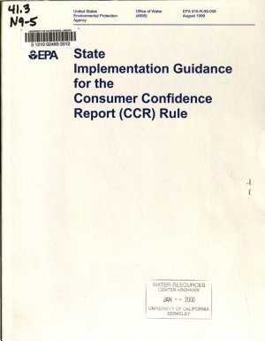 State Implementation Guidance for the Consumer Confidence Report  CCR  Rule