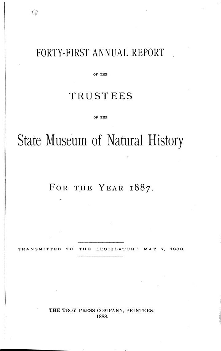 Annual Report of the Trustees of the State Museum of Natural History for the Year ...