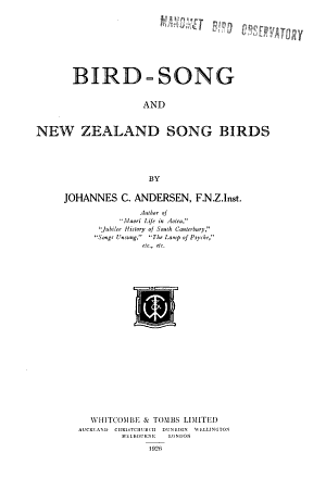 Bird song and New Zealand Song Birds