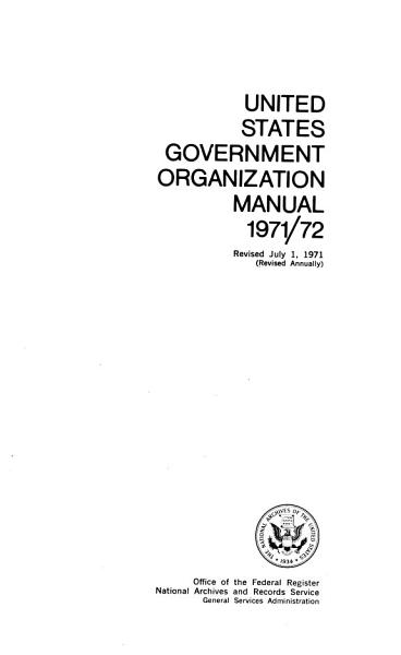 Download United States Government Organization Manual Book