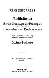 Meditationen   ber die Grundlagen der Philosophie PDF