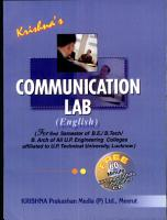 Krishna s Communication Lab  English   For B E   B  Tech   B  Arch  Students of 2nd Semester of all Engineering Colleges Affiliated to U P  Technical University Lucknow PDF