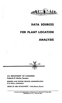 Data Sources for Plant Location Analysis PDF