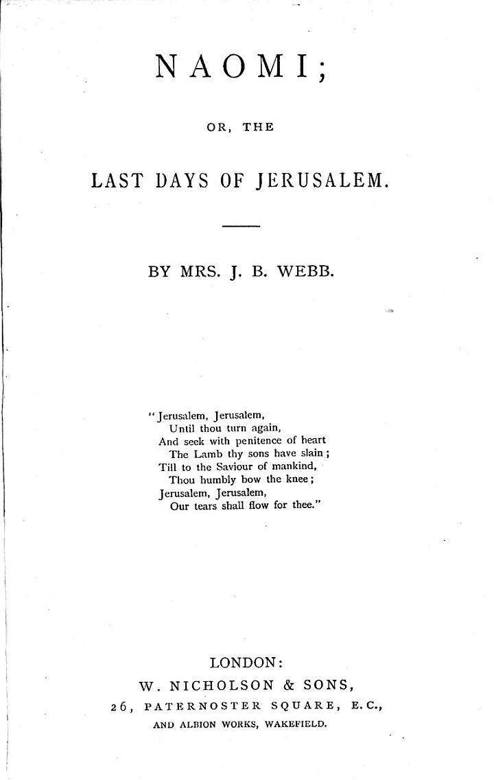 Naomi, Or, The Last Days of Jerusalem