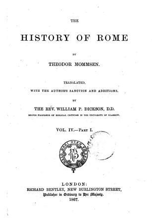 The History of Rome by Theodor Mommsen PDF