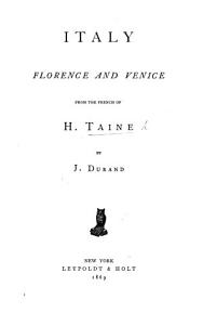 Italy  Florence  and Venice  From the French     By J  Durand PDF