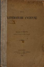 De la littérature ancienne