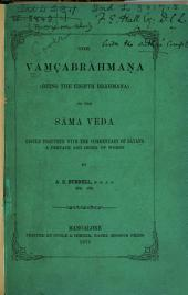 The Vamçabrahmana (being the eighth Brāhmana) of the Sāma veda