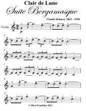 Clair de Lune Suite Bergamasque Easy Violin Sheet Music