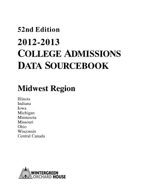 2012 2013 College Admissions Data Sourcebook Midwest Edition