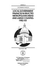 Local Government Finances in Selected Metropolitan Areas and Large Counties