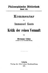 Kommentar zu Immanuel Kants Kritik der reinen Vernunft