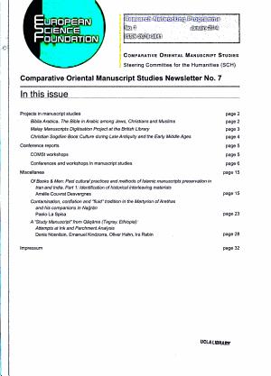 Comparative Oriental Manuscript Studies Newsletter PDF