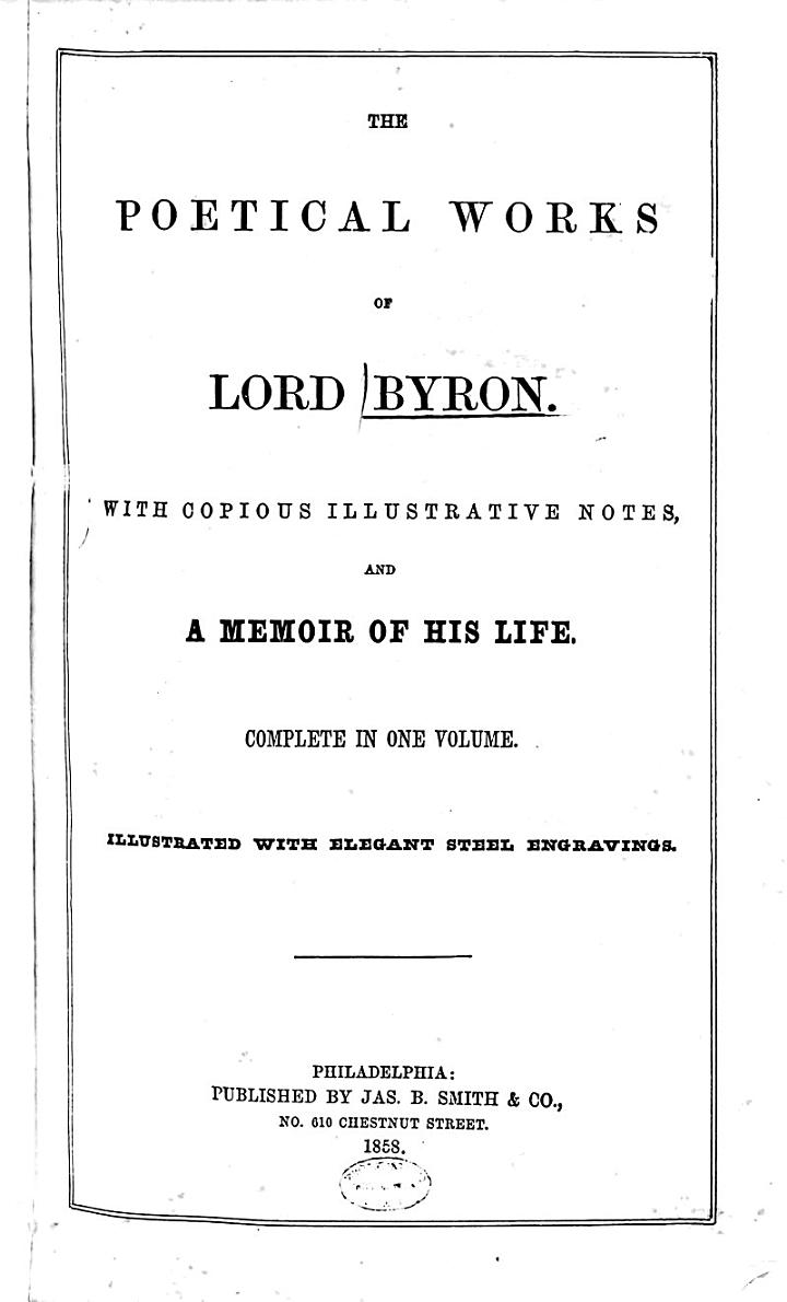 """""""The"""" Poetical Works of Lord Byron"""
