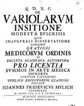 De variolarum insitione modesta epicrisis