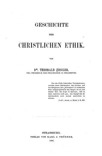 Geschichte der christlichen Ethik PDF