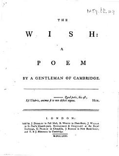 The Wish  a Poem  By a Gentleman of Cambridge