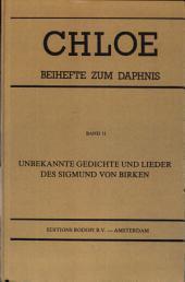 Unbekannte Gedichte und Lieder des Sigmund von Birken