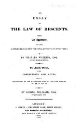 An Essay on the Law of Descents ... Fourth edition, with corrections and notes ... by J. Williams