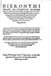 De Stirpivm, Maxime Earvm, Qvae In Germania Nostra Nascvntvr, usitatis nomenclaturis, proprijsq[ue] differentijs, neq[ue] non temperaturis ac facultatibus, Commentariorum Libri tres, Germanica primum lingua conscripti, nunc in Latinam conuersi, Interprete Davide Kybero Argentinensi ... Ad Calcem operis adiectus est Benedicti Textoris Segusiani de Stirpium differentijs, ex Dioscoride secundum locos communes ... Ad Haec Indices Sex: Qvibus Non Tantvm Nomenclaturae Graecae, Latinae, Germanicae, Arabicae, Hebraicaeq[ue], sed & morborum curationes optimo ordine indicantur, subiunximus: Volume 1