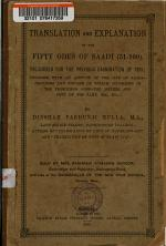 Translation and Explanation of the Fifty Odes of Saadi (51-100) Prescribed for the Previous Examination of 1893