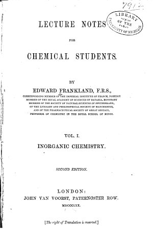 Lecture Notes for Chemical Students  Inorganic chemistry  v 2  Organic chemistry