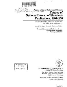 Catalog of National Bureau of Standards Publications  1966 1976  Citations and abstracts PDF