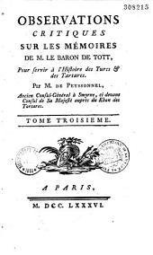 Mémoires du baron de Tott sur les Turcs et les Tartares