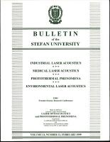 Bulletin of the STEFAN UNIVERSITY  Laser Optoacoustics and Photothermal Phenomena   1999  ISSN  1098 1632  PDF