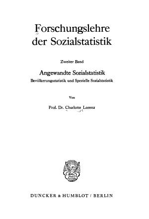 Forschungslehre der Sozialstatistik