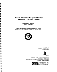 Analysis of Corridor Management Practices on Selected Critical SIS Facilities PDF
