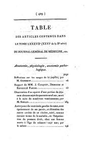 Journal général de médecine, de chirurgie et de pharmacie franc̜aises et étrangeres, ou, Recueil périodique de la Société de médecine de Paris: Volume87