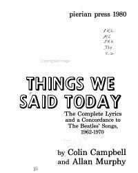 Things We Said Today PDF