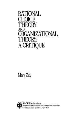 Rational Choice Theory and Organizational Theory PDF
