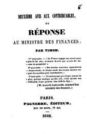 Deuxième avis aux contribuables, ou Réponse au ministre des Finances