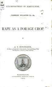 Rape as a forage crop